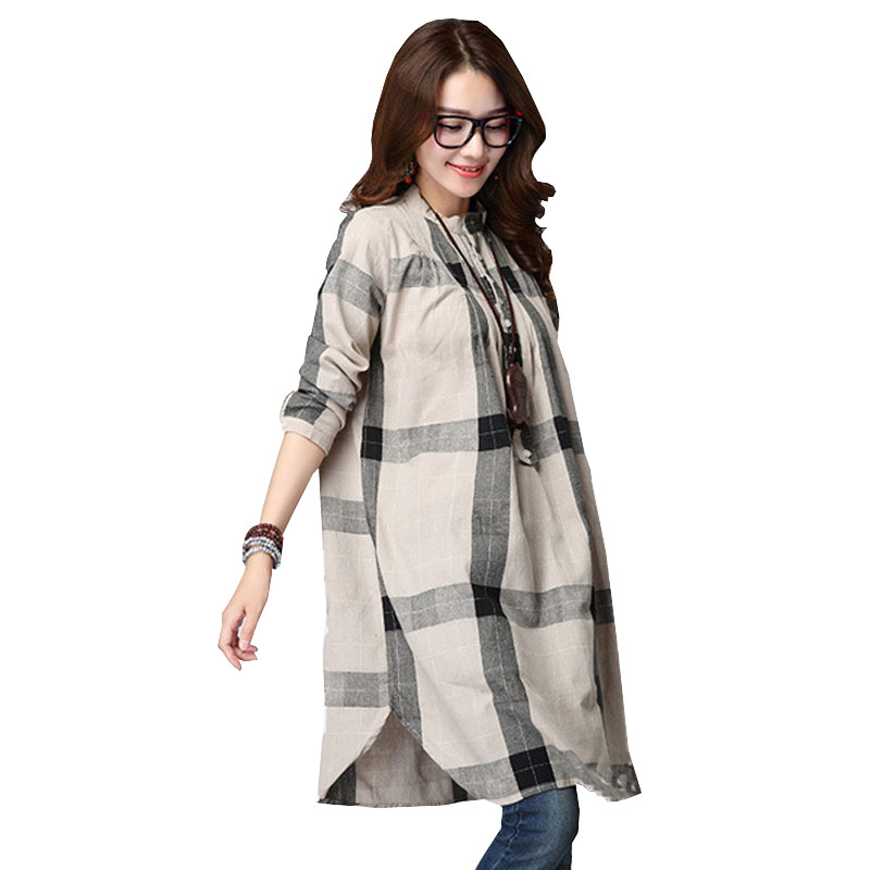 cdbf50116333e Plaid Maternity Blouses Loose Top Clothes For Pregnant Women Wear Pregnancy  Clothing Cotton Long Sleeve Shirt