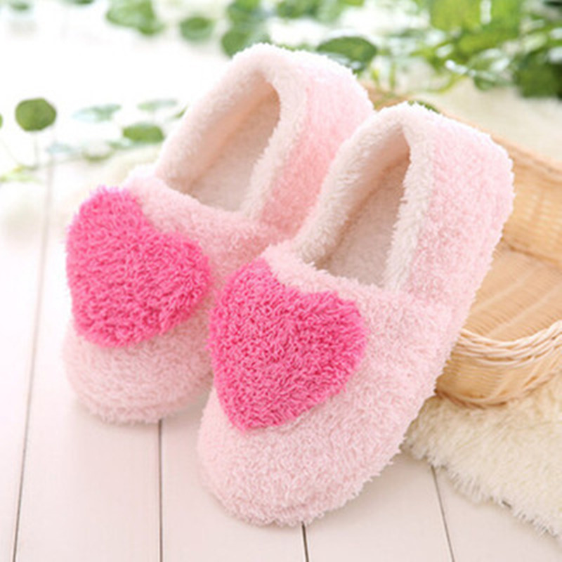 2018 New Fashion Women Slippers Heart-Shaped Plush Indoor Winter Girls Shoes Non-slip Free Shipping free shipping the new popular wedding special heart shaped acrylic podium organic glass church pulpit
