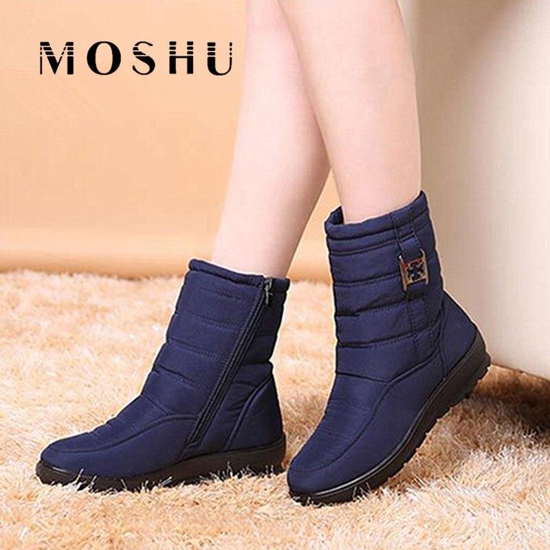 Mulheres botas de neve tornozelo feminino zíper para baixo botas de inverno anti skid à prova dwaterproof água flexível plush palmilha botas femininas de inverno