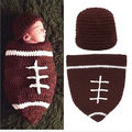 Браун Футбол Спальный Мешок Новорожденный Ребенок Вязания Крючком Фотография Реквизит Костюм