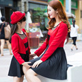 Mom and Daughter Dress 2016 New  Spring Mother Daughter Dresses Fashion Mother and Daughter Clothes Coat + Dress 2Pcs/lot Lovely