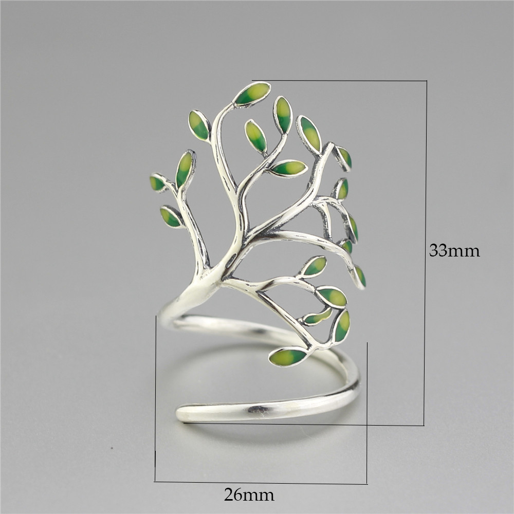 Moonmory 925 Sterling Silver Sprouting Little Tree anillo abierto - Bisutería - foto 3