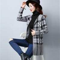 2017 Autumn New Plaid Long Sleeved Sweater Cardigan Women S Self Cultivation Long Coat Women AL81