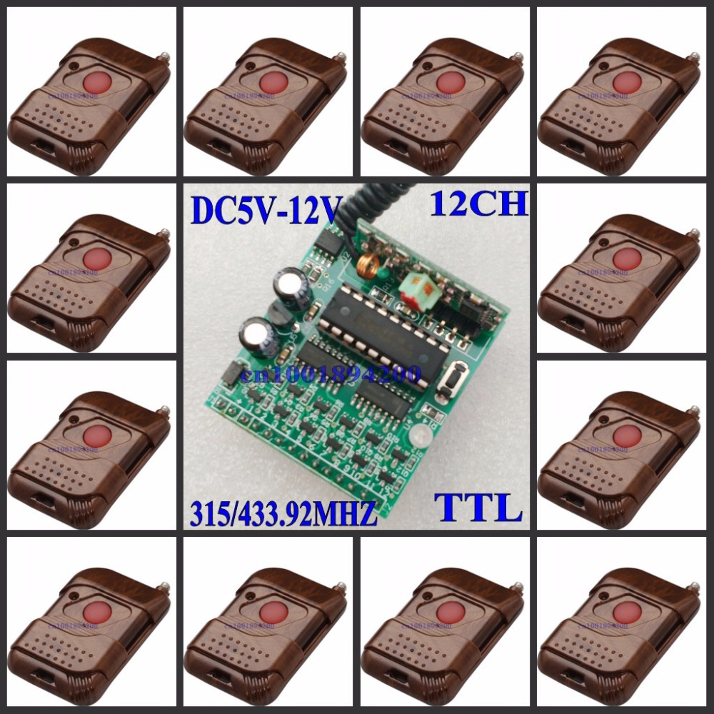 5V-12V 12 CH Decoding Receiver Module 12 CH TTL High Level Remote Control Module Wireless Receiver Module12 Transmitter 315/433 цена