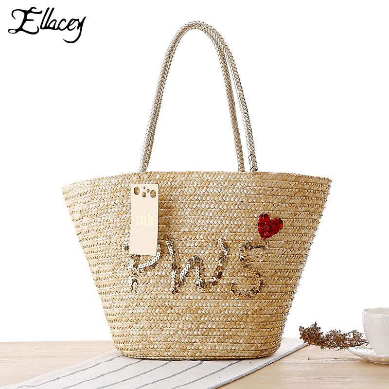 2016 New Summer Autumn Beach Bag Contracted Stripe Women's ...