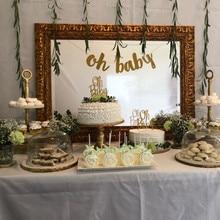 Ouro brilhante letras oh bebê com coração banner para festa de aniversário do chuveiro de bebê 11*15cm menino menina gênero revelar decorações de festa