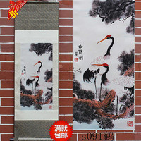 Chinese flower and bird painting scroll hanging silk painter Home Furnishing teahouse Songhe map longevity auspicious decorative