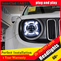 Car Styling For JEEP Renegade led headlights For Renegade head lamp Angel eye led DRL front light Bi Xenon Lens xenon HID KIT