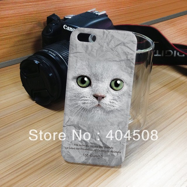 brand new cute cat animal Series Hard back cover shell skin Case For IPhone 4 4S 5 5S persian cat IMD technique cell phone