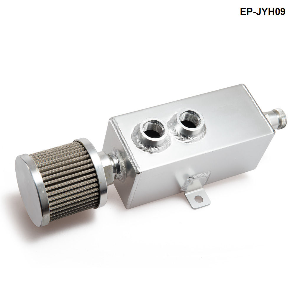 Universal 1L Aluminum Auto Engine Oil Catch Can Breather Tank Bottle Reservoir