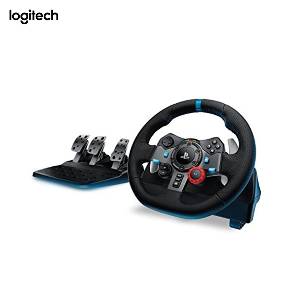 <font><b>Logitech</b></font> <font><b>G29</b></font>, Steering wheel + Pedals, Playstation 3,PlayStation 4, Analogue, D-pad, Select, Share, Wired, USB 2.0 image