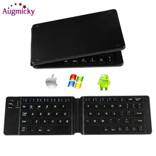 Mini Rechargable Leather Portable Folding Bluetooth Keyboard BTWireless Foldable Keypad forIOS/Android/Windows ipad Tablet phone mini bluetooth keyboard for iphone android smart phone tablet pc