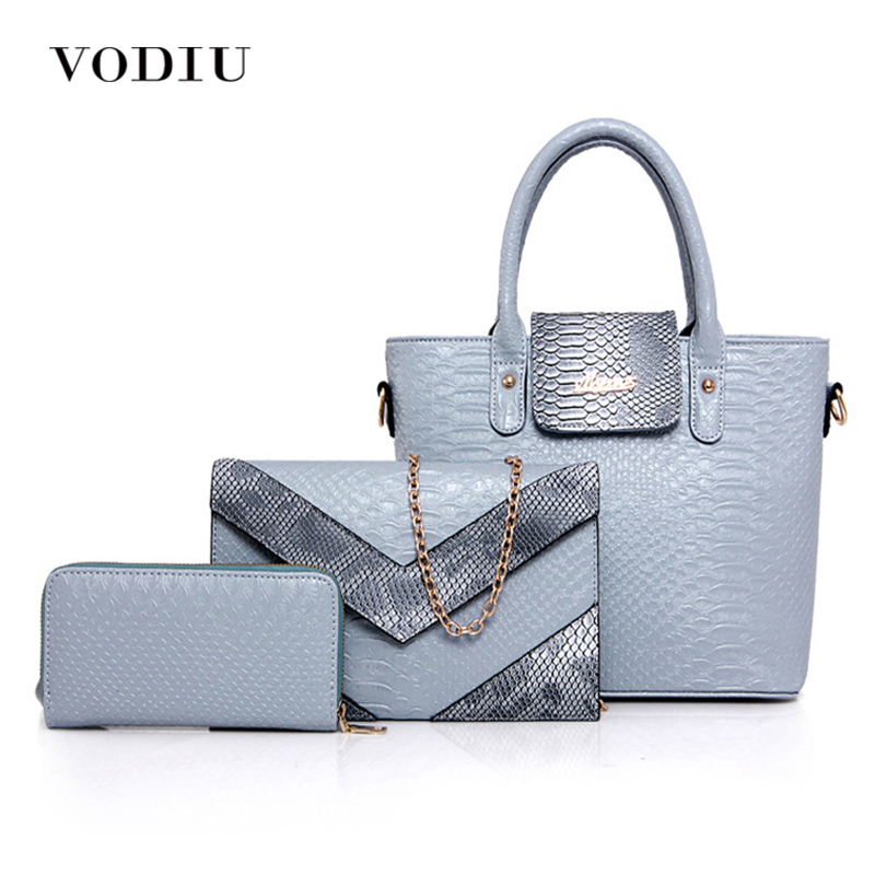 Women Bags Handbag Tote Over Shoulder Crossbody Messenger Leather Female Set Bag Chain Candy Color Crocodile Big 2017 Black Bag