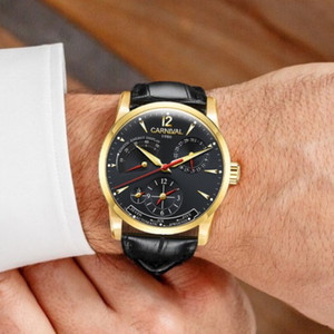 Image 5 - Karnawał szwajcaria mężczyźni oglądać najlepsze marki luksusowe wielofunkcyjne automatyczne mechaniczne zegarki mężczyźni wodoodporne Luminous zegary montre
