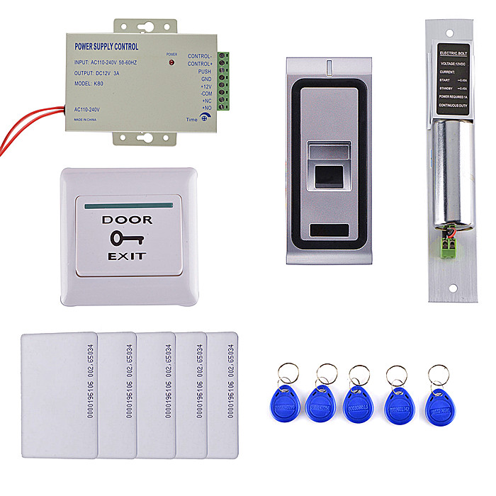 DIY Fingerprint 125KHz RFID ID Card Reader Metal Case 2 in 1 Door Access Control System Kit + Electric Bolt Lock F102 125khz rfid card waterproof metal case fingerprint access control system f102 with remote control 10pcs key card