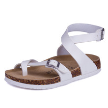 Brown Black White Fashion Designer Cork Sandals 2017 New Young Boy Casual Summer Beach Men Gladiator Buckle Strap Shoe