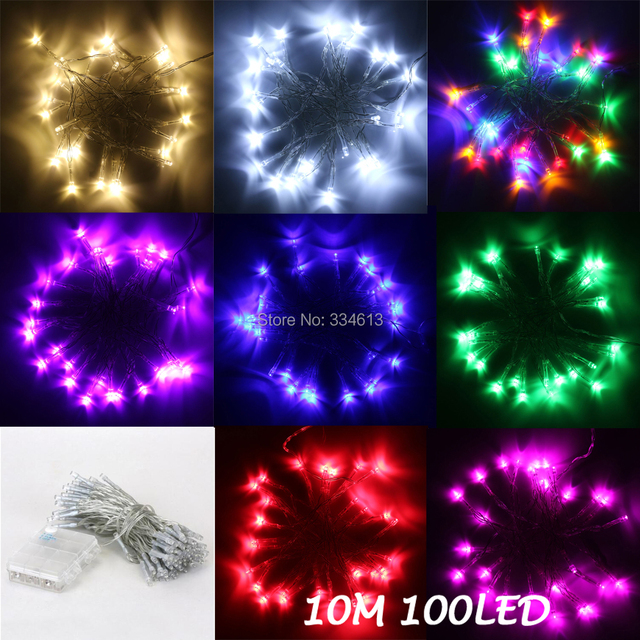 battery operated 10m 100 leds string lights fairy party wedding christmas led strip lights