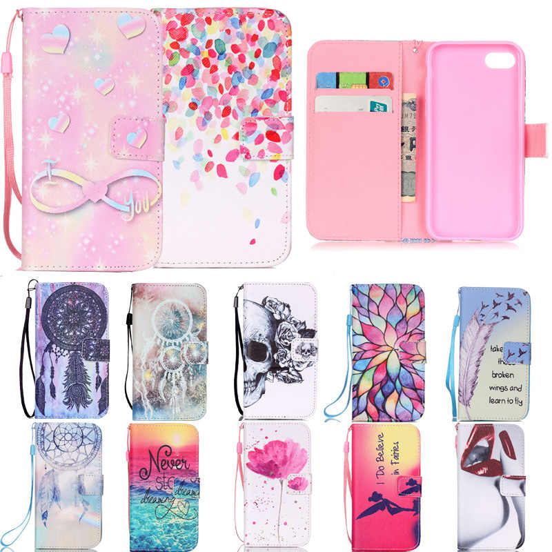 Luxury Fashion Lotus Cat Pattern Pu Wallet Flip Case for Apple iPhone 8 7 Plus 4 4S 5 5S SE 5C i6 6 6S Protective Shell Cover