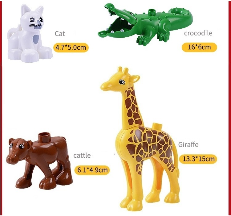 Duploed Animals Set Building Blocks Figures Dinosaurs Crocodile Elephant Zoo Series DIY Blocks Kids Educational Toys Gifts