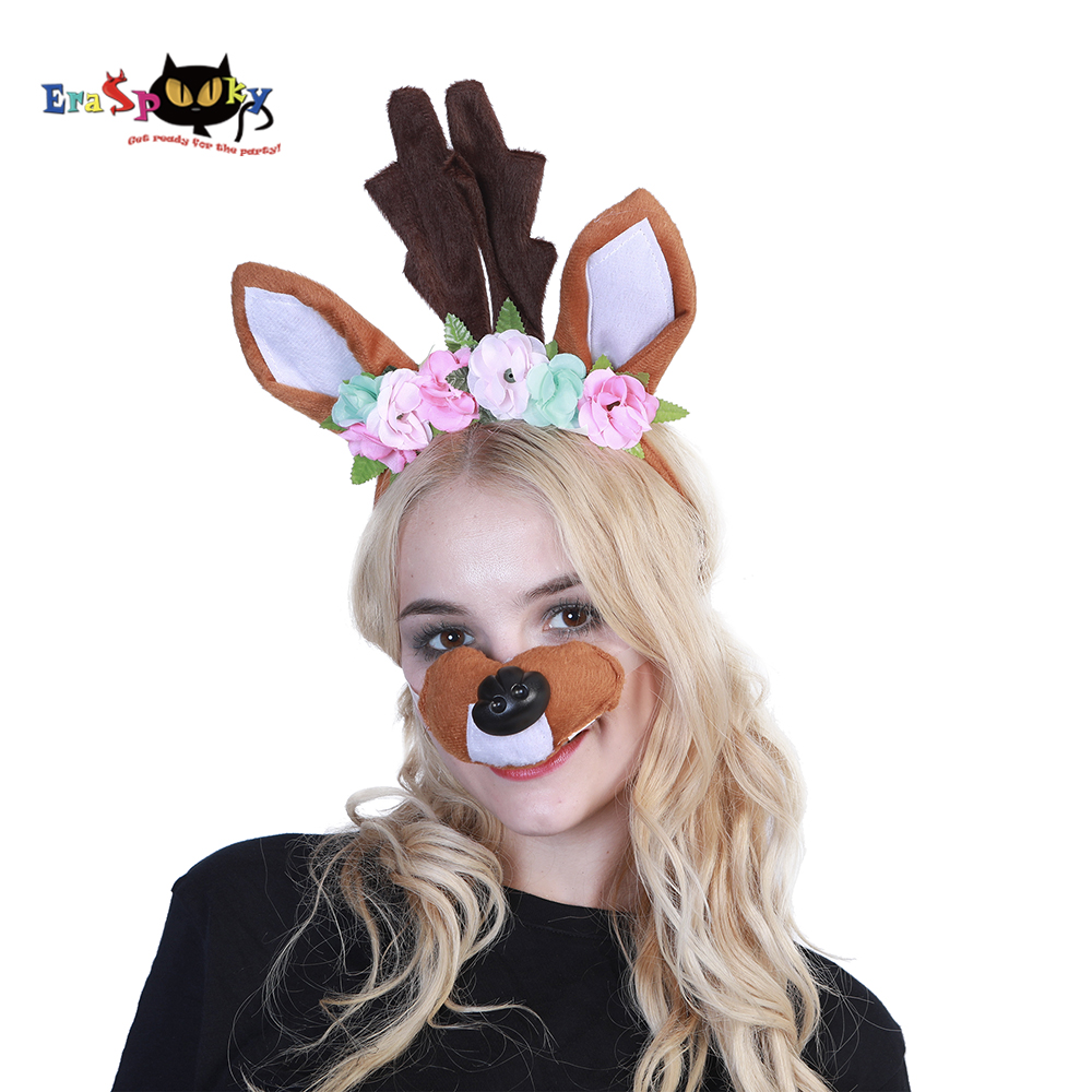 Eraspooky flower Moose Elk Deer Christmas accessories headband mask set women Christmas cosplay Halloween costume for adult