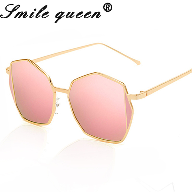 Fashion Oversized Men Square Sunglasses Women Metal Frame Brand Designer  Rose Gold Sunglasses Vintage Lady Hexagon Shades UV400 1a34d95d0e