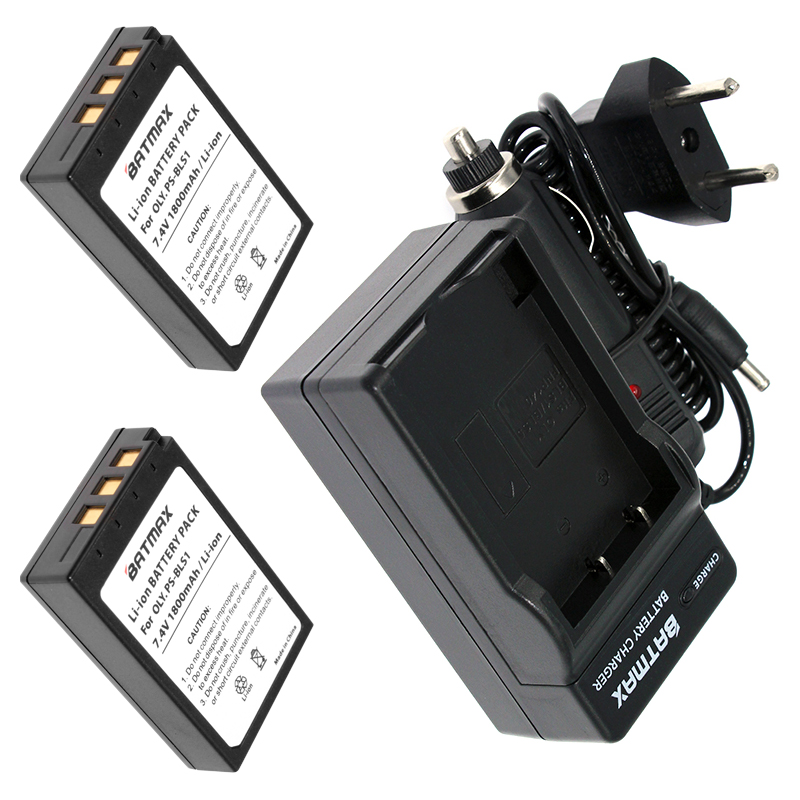 2Pcs PS-BLS1 BLS-1 BLS1 Battery&Charger Kit for Olympus E-400,E-410,E-420,E-450,E-600,E-620, PEN E-P1, E-P2, E-P3, E-PL1, E-PL3 e