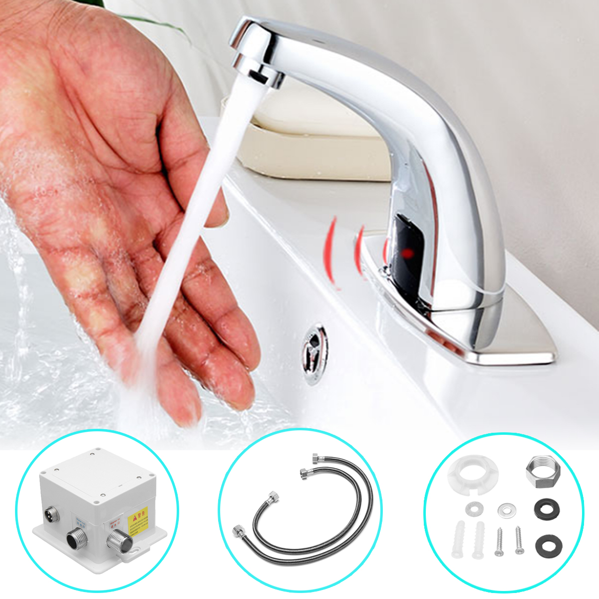 купить Bathroom Automatic Infrared Sink Hands Touchless Free Faucet Sensor Tap Cold Water Saving Inductive Electric Basin Faucet Mixer по цене 1686.34 рублей