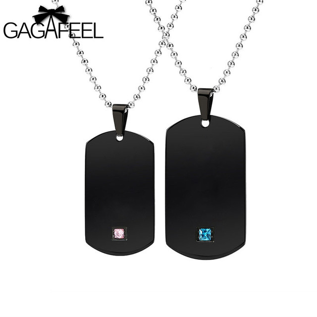 Gagaffel laser engrave custom name dog tags military army cards gagaffel laser engrave custom name dog tags military army cards couple necklace jewelry black stainless steel aloadofball Image collections