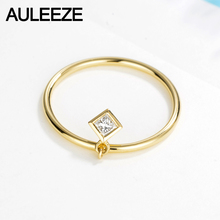 AULEEZE Simple Movable Design Princess Cut Natural Diamond Wedding Ring 18k Yellow Gold Solitaire Diamond Ring For Women Jewelry