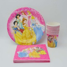 40pcs/set Party Supplies Ariel/Snow White/Belle/Cinderella/Aurora Princess Birthday Plate/napkin Decoration Ariel