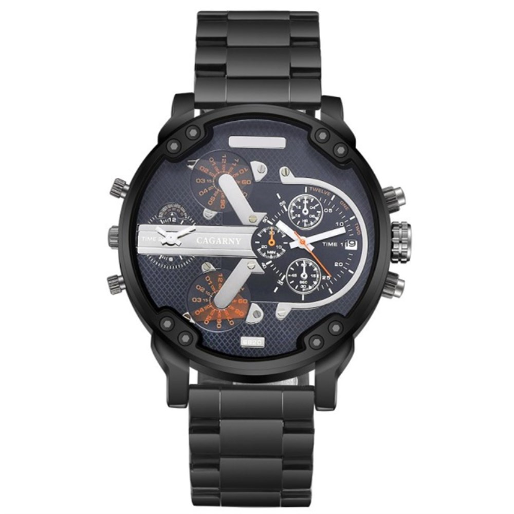 CAGARNY Brand Watch Men Quartz Mens Watches Stainless Steel Watchband Dual Time Zones Military font b