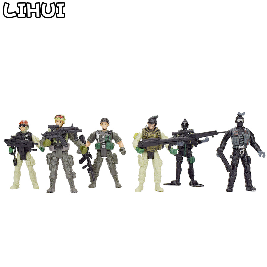 12Pcs/set American Soldiers Military Model Toy Heroic Soldier Modeling Movable Joints Toys for Boys Toys Gift for Children mr froger carcharodon megalodon model giant tooth shark sphyrna aquatic creatures wild animals zoo modeling plastic sea lift toy