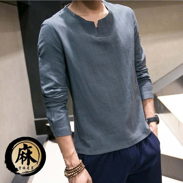 1700226f1567 New Chinese Style Traditional Long sleeve Summer Pure Color Mandarin Collar Men s  Casual Thin Linen Cotton