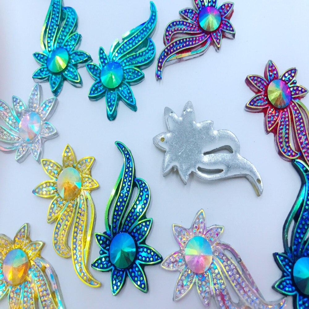 30pcs 42 26mm flower shape Mixed colour Sew on rhinestones flatback resin  crystals accessory gemstone 7e5ac658d55d