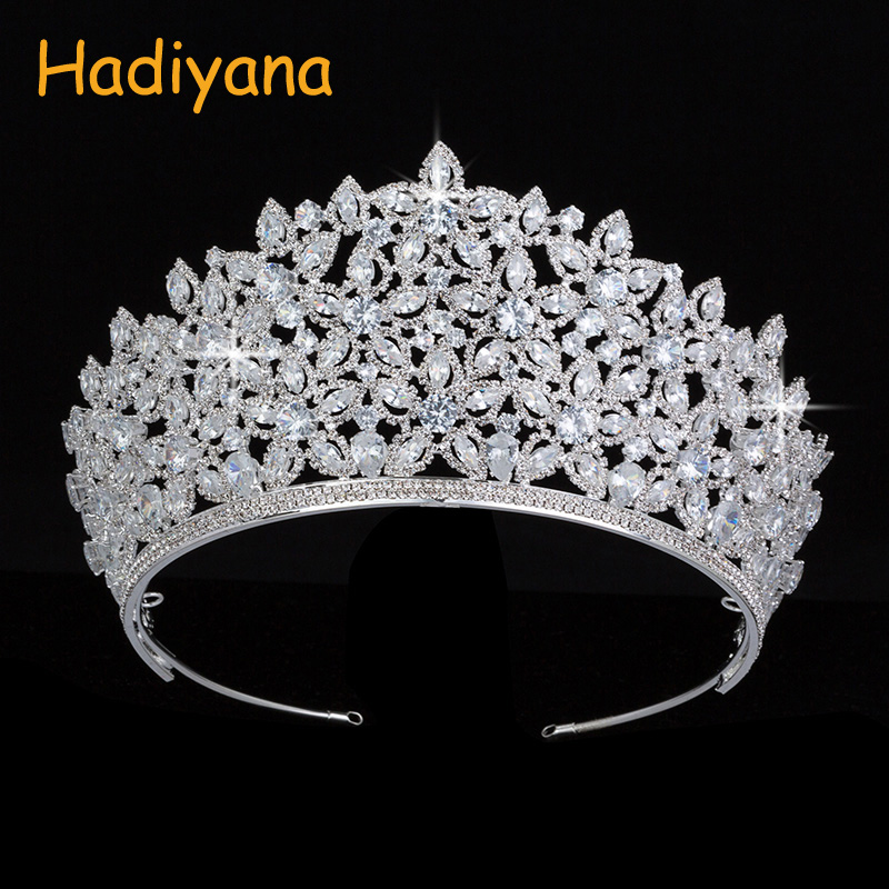 Hadiyana Luxury Sparkling CZ Bridal Hair Accessories Crown Tiaras Big Diadem Crowns Girls Wedding Party Sliver Design BC4431 himstory luxury sparkling cz flower bridal tiaras crown hair accessories big diadem crowns for women girls wedding party holiday