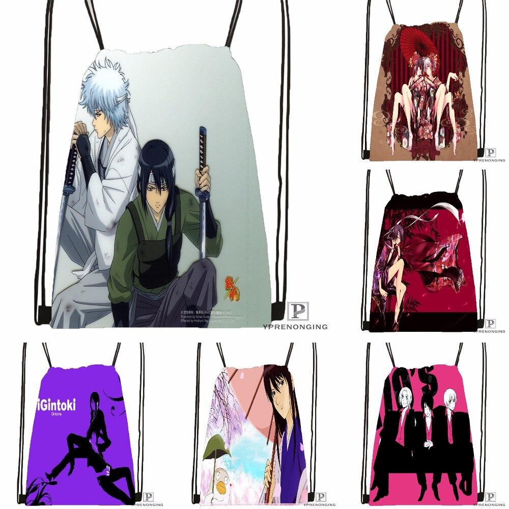 Custom Gintama Sakata Gintoki Drawstring Backpack Bag Cute Daypack Kids Satchel (Black Back) 31x40cm#180531-04-10