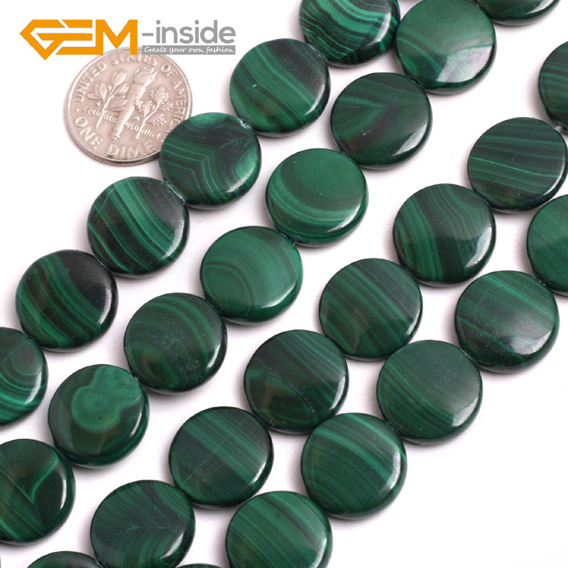 Malachite: 14MM Coin Shape Grade AA Chrysocolla Beads Natural Stone Beads loose Bead For jewelry Making Strand 15