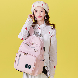 Image 5 - 受賞新ソリッドカラー印刷usb充電バックパック女性抗盗難旅行bagpackノートパソコンスクールバックパック十代の少女