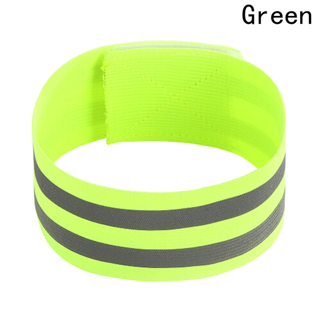 aa91e57c0b19 Pulsera reflectante doble de alta visibilidad verde banda de pulsera para  correr de noche ciclismo Jogging