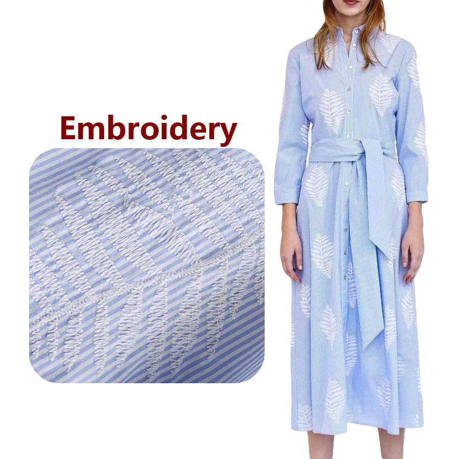0f07b1539bcc1c 2018 Shirt Dress Women Striped Embroidery Leaves Turn Down Collar Long  Sleeve Blue Elegant Robe Femme