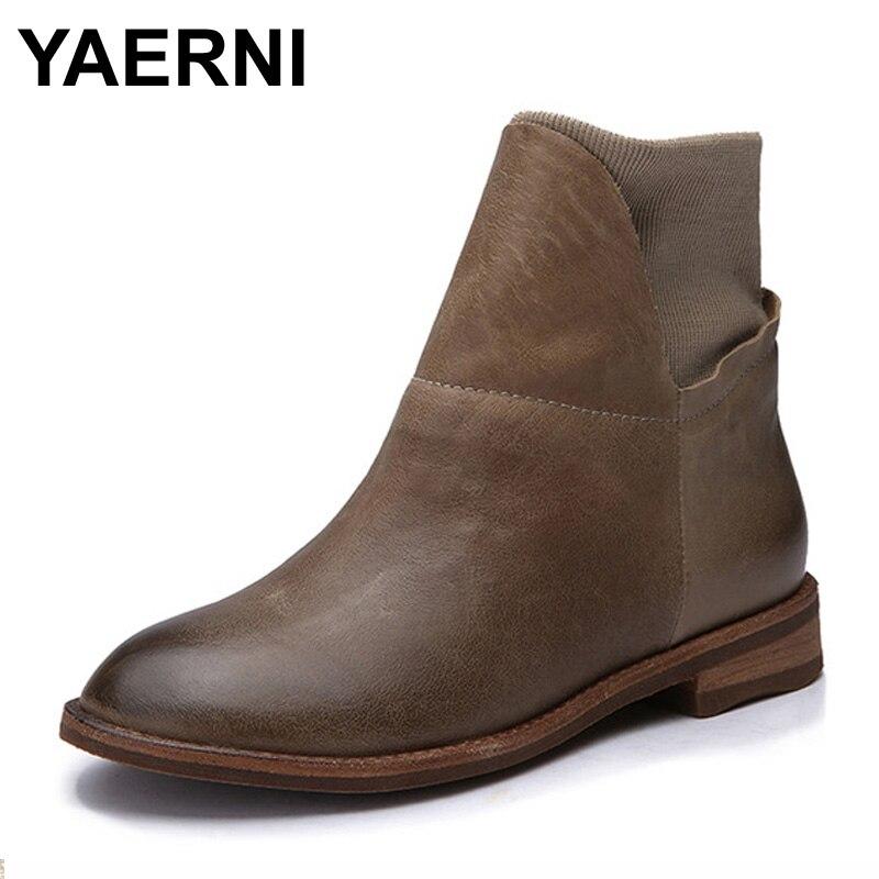 Vintage Noir marron 2017 Femmes Chaussures Véritable Yaerni Talon Cuir Plat Cheville Main Bottes BO0TPqawPx