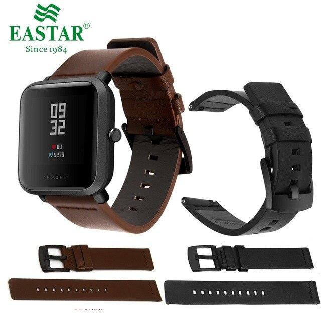 a0bd02053be Clássico Pulseira de Couro genuíno Para Xiaomi Huami Amazônia Bip 20mm  RITMO Lite Juventude Wearable Relógio
