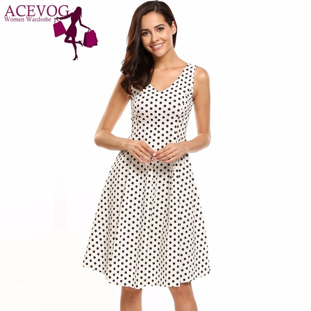 ACEVOG Women Dot Print Dress Summer Vintage Style V-Neck Sleeveless Polka  Dot Swing Skater Tank Dresses Brand Feminino Vestidos 0618f8325