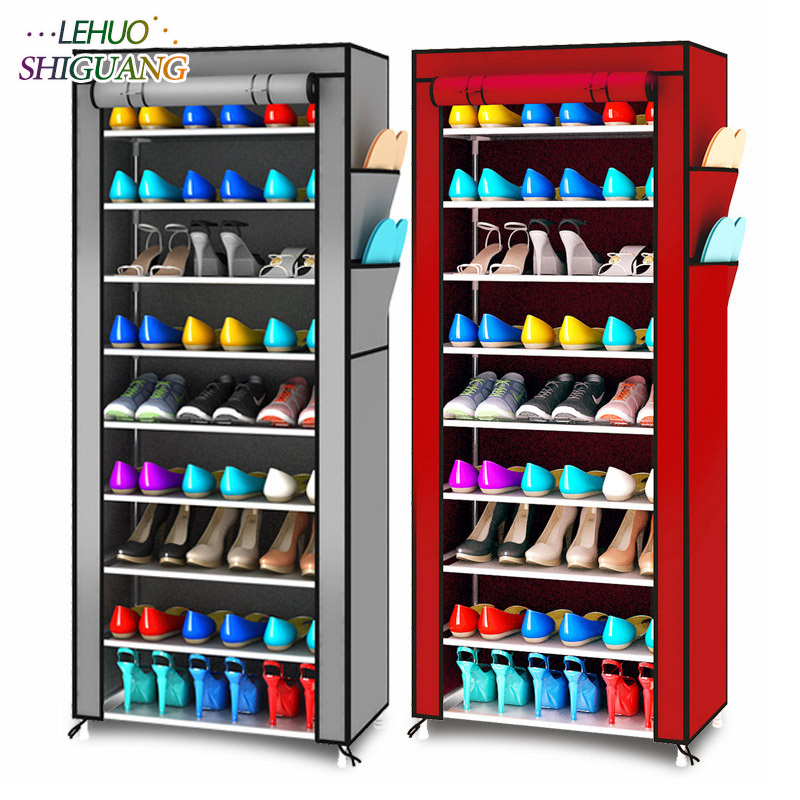 цена Fashion simple Shoe cabinet 10-layer 9-grid Oxford cloth Large Shoe rack organizer removable shoe storage for home furniture
