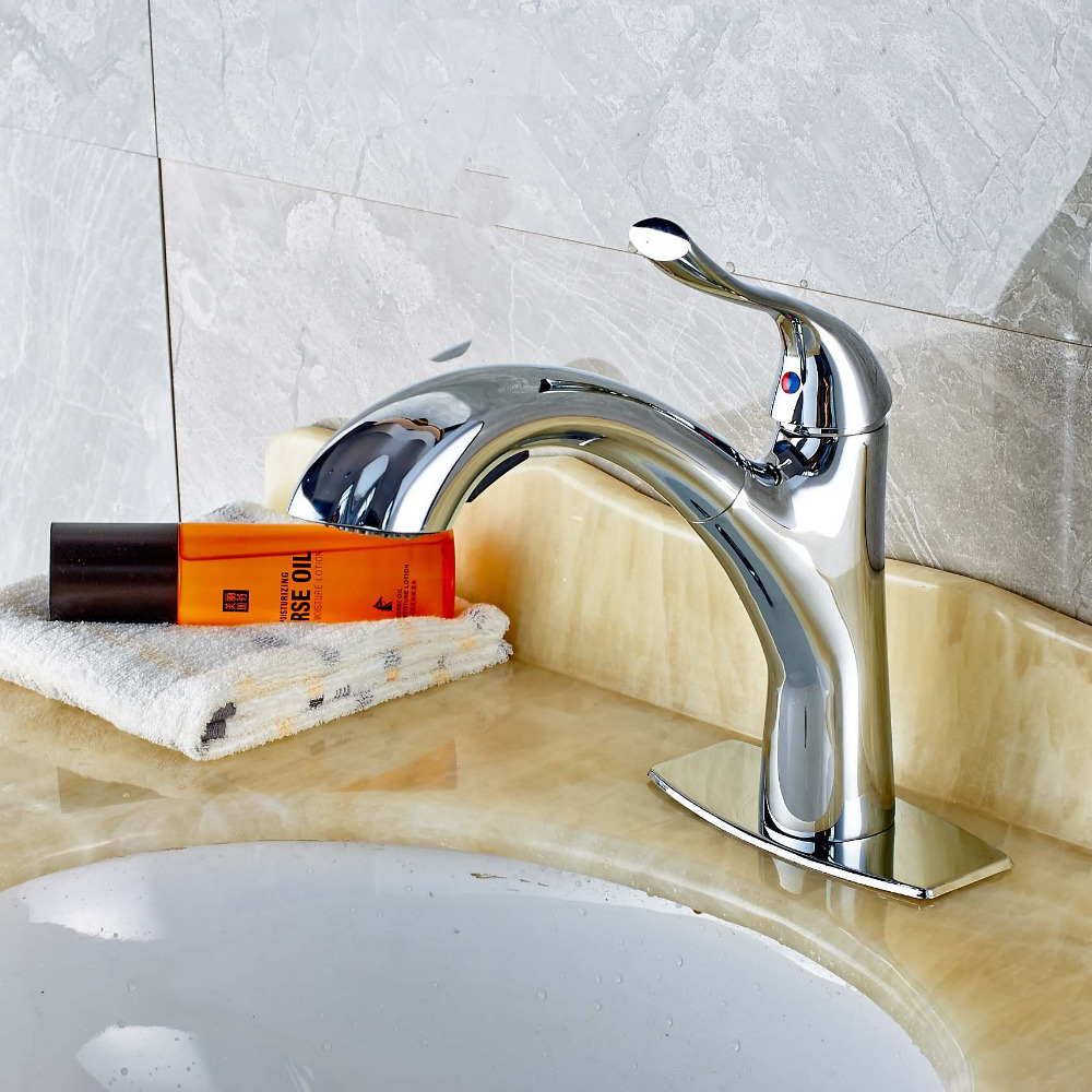 Chrome Brass Pull Out Bathroom Hot Cold Mixer Tap Faucet W/Cover ...