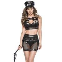 Siyah PVC Deri & Hollow-out Fishnet Seksi Polisler Kostüm Yetişkin Cosplay Lingerie Cadılar Bayramı Polis Kadın Üniforma Kıyafetleri