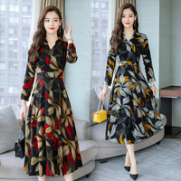 8151# 2018 Autumn Plus Size New Women Fashion Elegant Long Sleeve V neck Chiffon Printed Maxi Dress Casual Dress Female Vestidos
