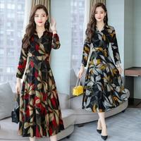 8151# 2018 Autumn Plus Size New Women Fashion Elegant Long Sleeve V neck Chiffon Printed Maxi Dress Casual Dress Female Vestidos