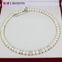 J. MOSUYA Joyería Para Mujeres Reales Natural de Perlas de Agua Dulce Collar de Perlas