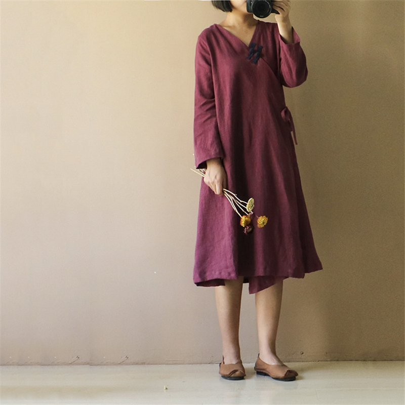 Femmes style chinois coton lin longue robe Vintage plaque boucle Oblique placket v-cou à manches longues automne décontracté robes amples